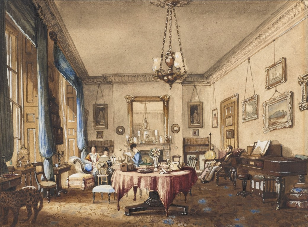 1842 unidentified English interior watercolour